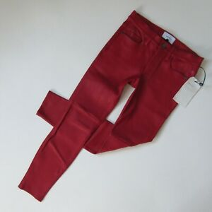 NWT Current/Elliott The Stiletto in Red Haute Lamb Leather Skinny Pants 29 $998