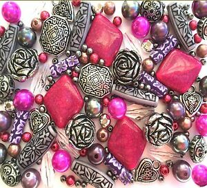 Fuchsia Pink Jewellery Making Beads