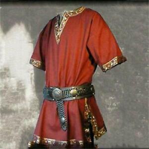 Plus Size Medieval Renaissance Mens Tunic Viking Saxon Shirt Halloween Cospla E1