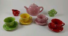 Vintage Children's Porcelain Polka Dot 13 Piece Miniature Tea Set ~ Bright Color