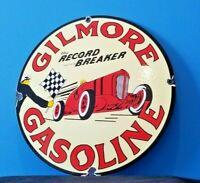 VINTAGE GILMORE GASOLINE PORCELAIN RACING FLAG GAS RECORD BREAKER CHAMPION SIGN