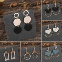 Womens Boho Leather Metal Earrings Peach Heart Dangle Ear Hook Jewellery Gift