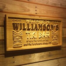 wpa0134 Name Personalized Tiki Bar Mask Beer Wood Engraved Wooden Sign