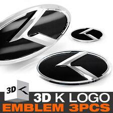 3D K Logo Front Grill + Trunk + Steering Wheel Emblem For KIA 2012-17 Rio Pride
