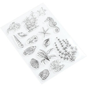 Transparent Stamp Cutting Die Clear Rubber DIY Journal Sea Horse Conch Seabed