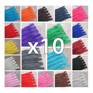 x 10 x CLOSED END No.3 NYLON ZIPS *24 COLOURS & 10 LENGTHS ZIPPER SEWING 10 ZIPS