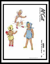 McCall 6894 Sewing Pattern BABY SUNSUIT PLAYSUIT BONNET Hat Panties GIRL Child 1