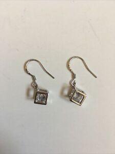 Sterling Silver Earrings Cube Cuboid With Diamond Shape Stone Hallmarked Dangle