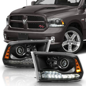 2013-2018 Dodge Ram 1500 2500 3500 Projector Headlights w/ White LED DRL Signal