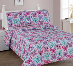 2/3 Piece Kids/Teens Soft Quilting Bedspread Bedding QUILT Set Butterfly Blue