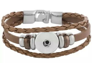 Brown Tan Leather 18mm 20mm Snap Charm Button Bracelet For Ginger Snaps 7.9 in
