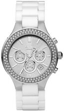 DKNY NY8259 Silver Dial White Ceramic Band Chronograph Women's Watch
