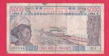 TOGO-W. États africains - 5000 FRANCS 1981 PICK #808Te - Circulé Rare-Look!