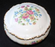 "Vintage GDA Limoges Bone China FLORAL Pattern 5""d Round Trinket Box"