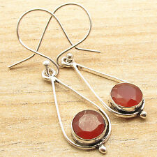 925 Silver Plated eBay Earrings, Real Red CARNELIAN Stone Modern Retro Fashion