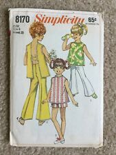 Vintage '60s Butterick Child's H Back Top Pants Shorts Cut Sewing Pattern 8170