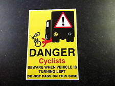 Cyclist Beware Do not pass on this side Danger Wagon Lorry HGV Safety Sticker A5