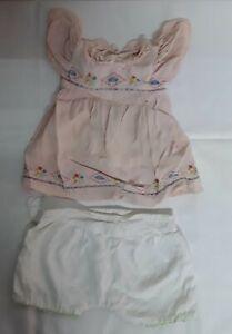 Altes antikes Puppenkleidung Puppenkleidung Kleid Höschen
