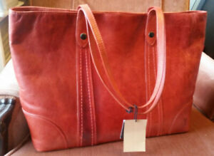 Frye Melissa Shopper Tote Burnt Orange  retail $358