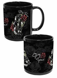 Stay True Genuine Darkside Tattoo Rose and Knuckle Duster 11oz Black Mug