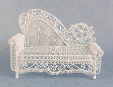 Dolls House Miniature Furniture White Wire Wrought Iron Chaise Longue Sofa