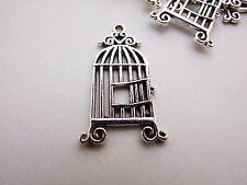 Antique Silver Bird Cage Charms 10pcs Design 1 Steampunk Pendant Vintage Kitsch