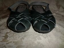"Bare Traps ""Rely"" Gray/ Blue Leather Ankle Strap Closed Toe Sandal 11 M EUC"