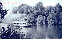 1908 Scene On Broad Ripple Steamboat Indianapolis Indiana Postcard BG