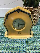 Antique 1920's Celluloid Art Deco Minii Mantel Shelf Clock Made Usa 'E' Initial