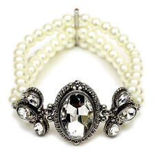 3 row Antiquued SP Bridal Classic Swirled Clear Crystal White Pearl Bracelet