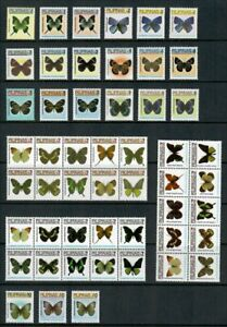 (RP06A) PHILIPPINES - 2006 - 2007 COMPLETE REGULAR STAMP SETS - BUTTERFLIES. MUH