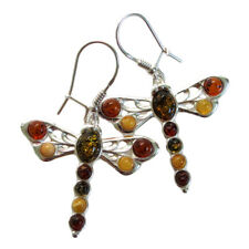 FANTASTIC MULTI COLOR BALTIC AMBER DRAGONFLY 925 STERLING SILVER HOOK EARRINGS