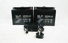 2 x 12v 50ah SLK Potenza Per Scooter Elettrico DEEP CYCLE AGM Batteria & Caricabatteria