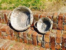 SET OF TWO ANTIQUE WASH WILLOW DISPLAY/FLOWER BASKETS WITH PLASTIC LINING