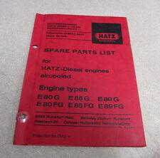 Hatz Diesel E80G E85G E89G E80FG E85FG E89FG Engines Spare Parts List Manual