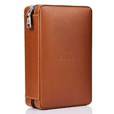 COHIBA Brown Leather Cedar Cigar Case Humidor W/ Cutter Lighter 4 Count