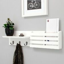 Entryway Wooden Wall Shelf with Mail Holder Organizer & 3 Metal Hooks - White
