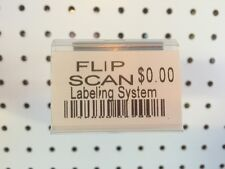 (100 Pack) 1.25 X 2 inch Label Holder for Flip Scan Pegboard Hooks. Made in Usa
