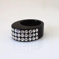 "Luna Bianca .3"" Wide Oval Black Acrylic Ring 3 Rows Clear Swarovski Crystals 5.5"