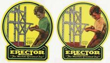 2-Outside Lid Stickers for Erector Set Box(1 of ea. Color)Self Stick Fast Ship x