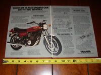 1978 YAMAHA XS750 - ORIGINAL 2 PAGE AD  XS 750