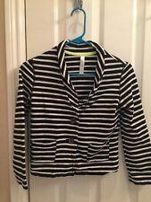 Girl's CHEROKEE Brand Black and White Striped Cotton Blazer - Large 10/12