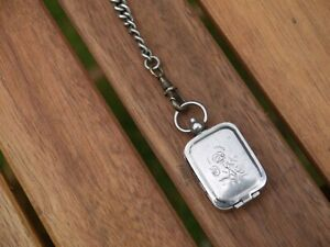UNUSUAL ANTIQUE SILVER PLATED GRADUATED POCKET WATCH ALBERT CHAIN + FOB SEAL