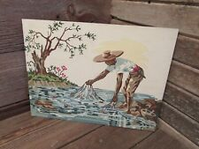 """Vintage Paint By Number 16"""" x 12"""" Net Fishing scene - GREAT CLORS!"""