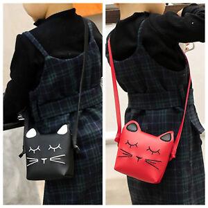 Kids Girls Mini Cat Strap Bag Shoulder Soft Faux Leather Black Red Sale 40% off