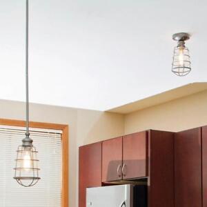 Design House Ajax 1-Light Adjustable Height Galvanized Steel Mini Pendant