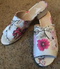 NEW Kelly & Katie Pink Floral Jacquard Mule Shoe Sandal Size 7.5 7 1/2