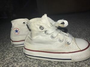 Kids Infant Converse All Star Hi Top White Trainers Size 5
