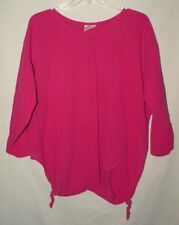 Comfy Casual Pink Cotton Round Neck 3/4 Sleeve Blouse Maria Plus Size 3X 4X 5X