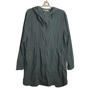 Athleta Overcloud Jacket Green Women's Size XL Rain Hooded Textured Pockets Long